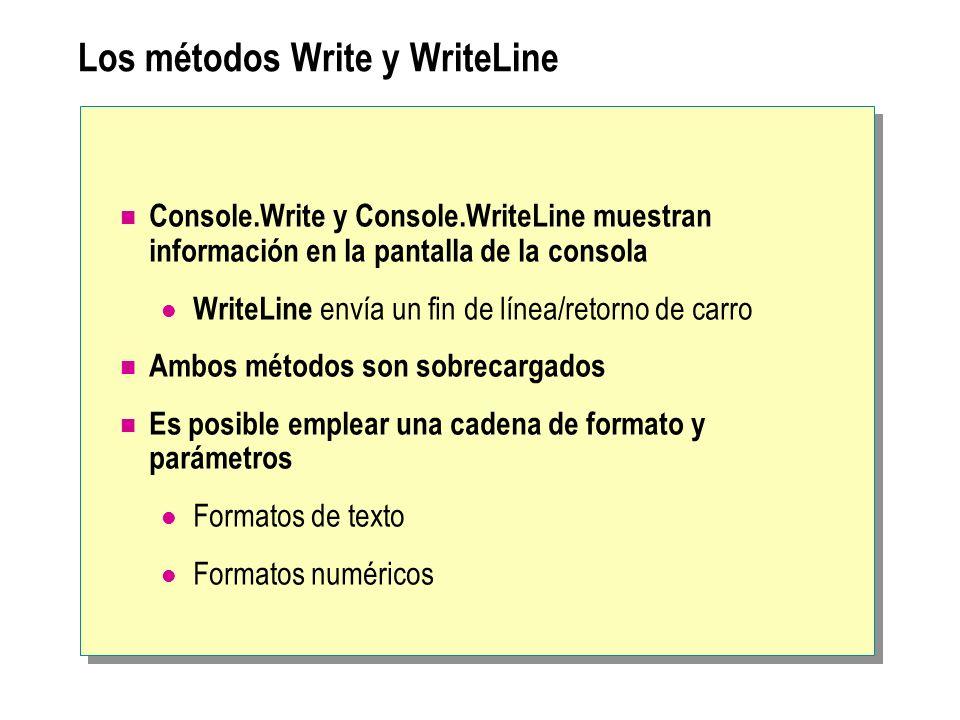 Los métodos Write y WriteLine Console.Write y Console.WriteLine muestran información en la pantalla de la consola WriteLine envía un fin de línea/reto