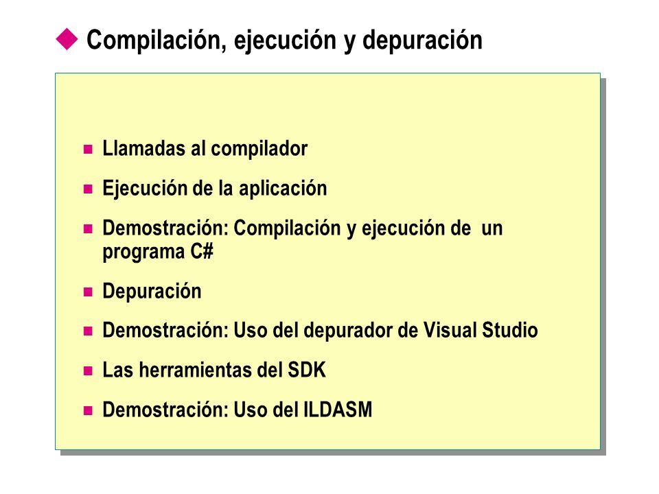 Compilación, ejecución y depuración Llamadas al compilador Ejecución de la aplicación Demostración: Compilación y ejecución de un programa C# Depuraci