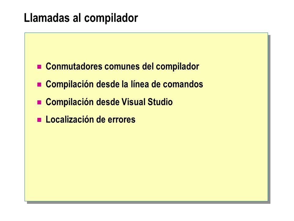 Llamadas al compilador Conmutadores comunes del compilador Compilación desde la línea de comandos Compilación desde Visual Studio Localización de erro