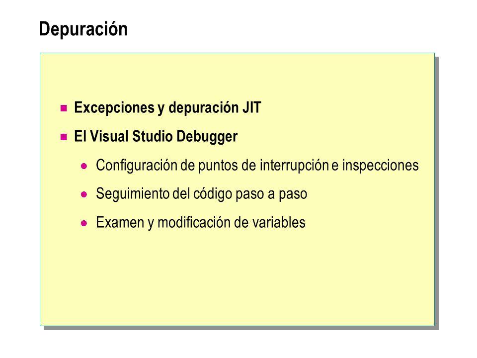 Depuración Excepciones y depuración JIT El Visual Studio Debugger Configuración de puntos de interrupción e inspecciones Seguimiento del código paso a