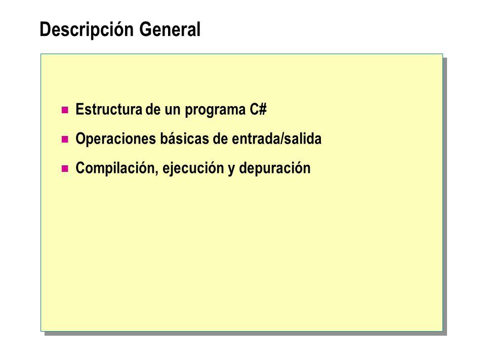Tratamiento de excepciones using System; public class Hola { public static void Main(string[ ] args) { try{ Console.WriteLine(args[0]); } catch (Exception e) { Console.WriteLine(Excepción en {0} , e.StackTrace); } } } using System; public class Hola { public static void Main(string[ ] args) { try{ Console.WriteLine(args[0]); } catch (Exception e) { Console.WriteLine(Excepción en {0} , e.StackTrace); } } }