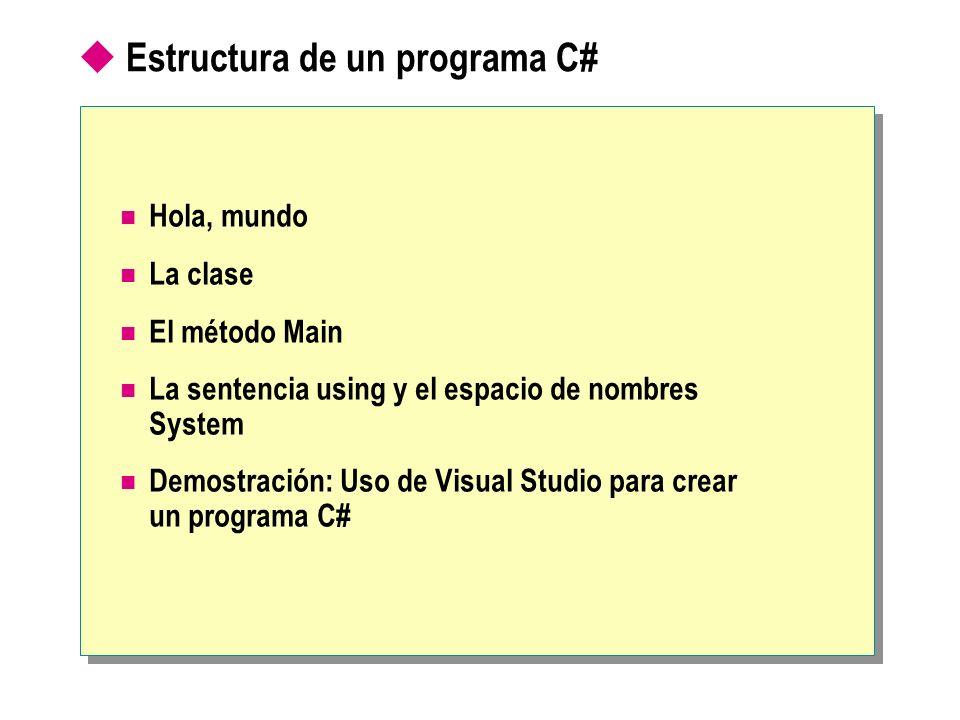 Estructura de un programa C# Hola, mundo La clase El método Main La sentencia using y el espacio de nombres System Demostración: Uso de Visual Studio