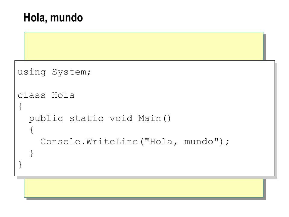 Hola, mundo using System; class Hola { public static void Main() { Console.WriteLine(