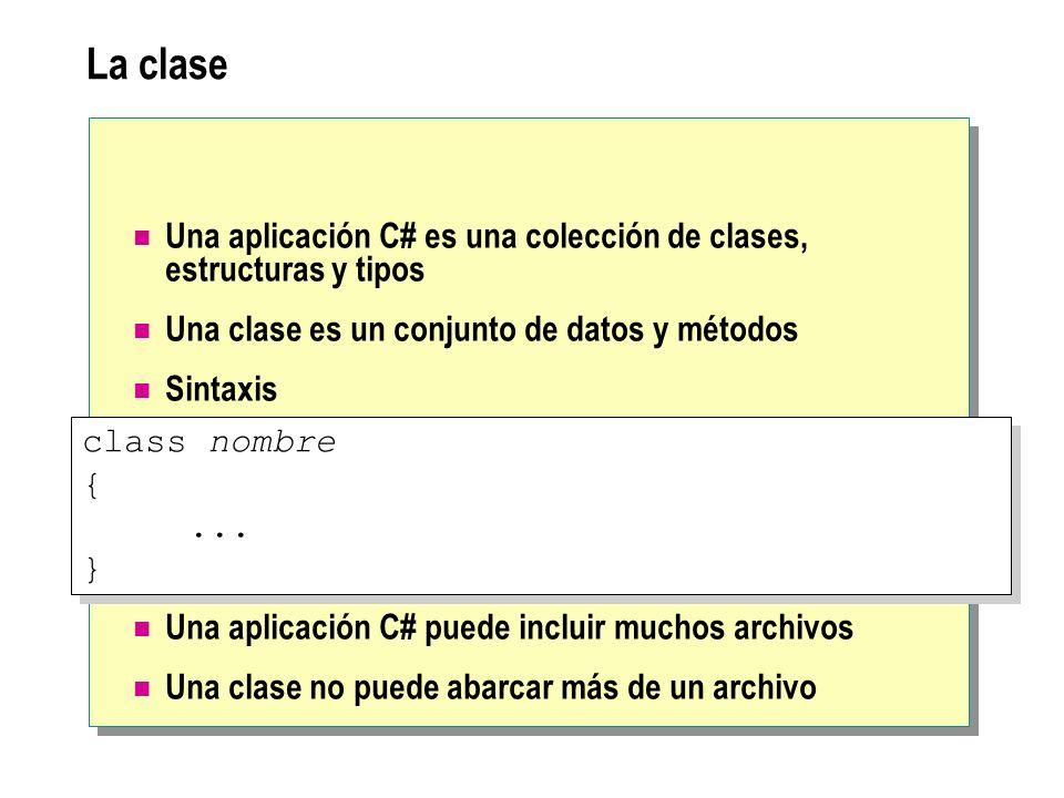 La clase Una aplicación C# es una colección de clases, estructuras y tipos Una clase es un conjunto de datos y métodos Sintaxis Una aplicación C# pued