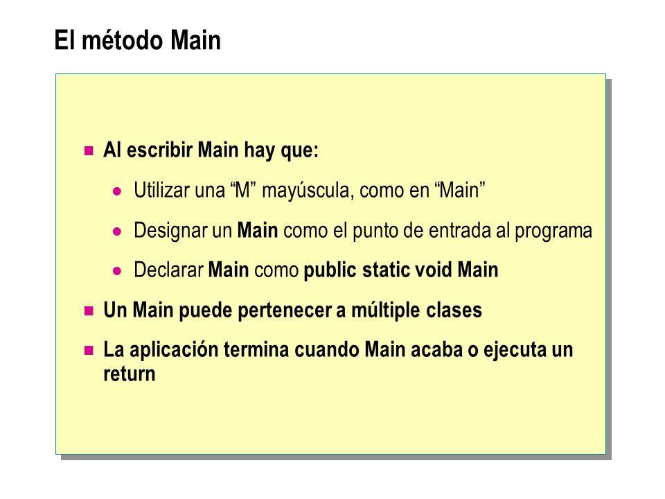 El método Main Al escribir Main hay que: Utilizar una M mayúscula, como en Main Designar un Main como el punto de entrada al programa Declarar Main co