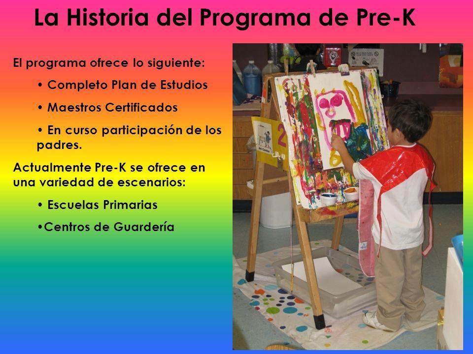 La Historia del Programa de Pre-K El programa ofrece lo siguiente: Completo Plan de Estudios Maestros Certificados En curso participación de los padre