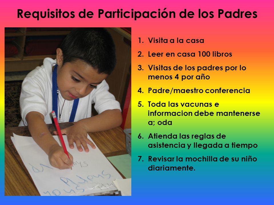 Requisitos de Participación de los Padres 1.Visita a la casa 2.Leer en casa 100 libros 3.Visitas de los padres por lo menos 4 por año 4.Padre/maestro
