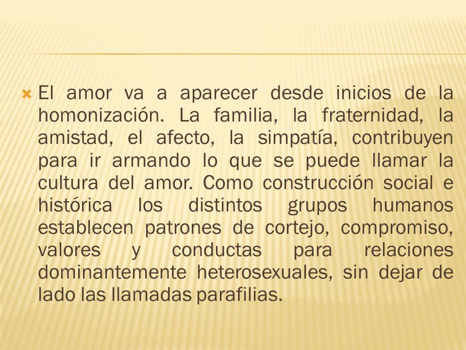 El amor va a aparecer desde inicios de la homonización. La familia, la fraternidad, la amistad, el afecto, la simpatía, contribuyen para ir armando lo