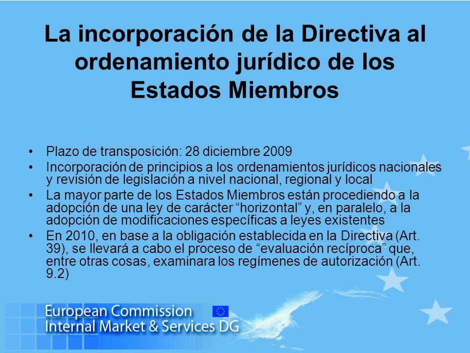La incorporación de la Directiva al ordenamiento jurídico de los Estados Miembros Plazo de transposición: 28 diciembre 2009 Incorporación de principio