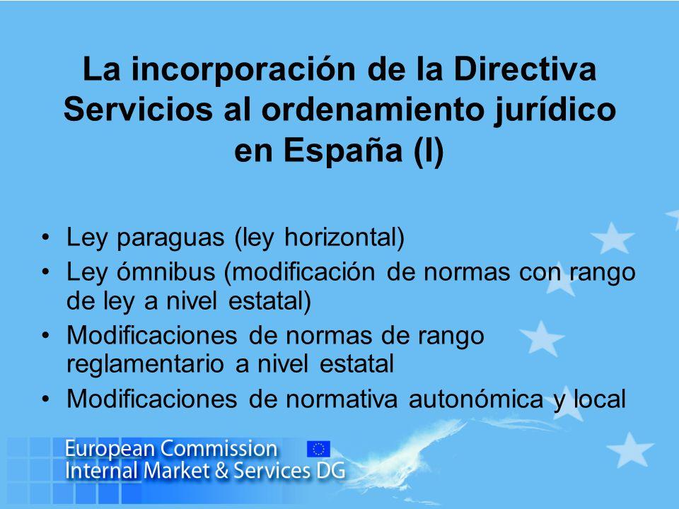 La incorporación de la Directiva Servicios al ordenamiento jurídico en España (I) Ley paraguas (ley horizontal) Ley ómnibus (modificación de normas co