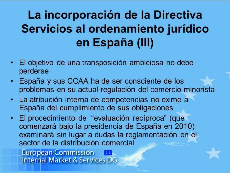 La incorporación de la Directiva Servicios al ordenamiento jurídico en España (III) El objetivo de una transposición ambiciosa no debe perderse España