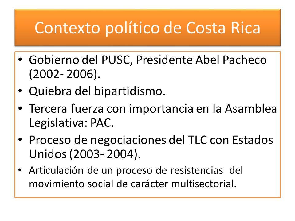 Contexto político de Costa Rica Gobierno del PUSC, Presidente Abel Pacheco (2002- 2006). Quiebra del bipartidismo. Tercera fuerza con importancia en l