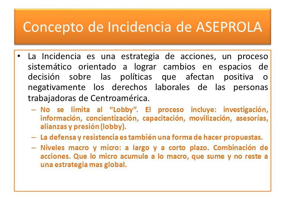 Concepto de Incidencia de ASEPROLA La Incidencia es una estrategia de acciones, un proceso sistemático orientado a lograr cambios en espacios de decis