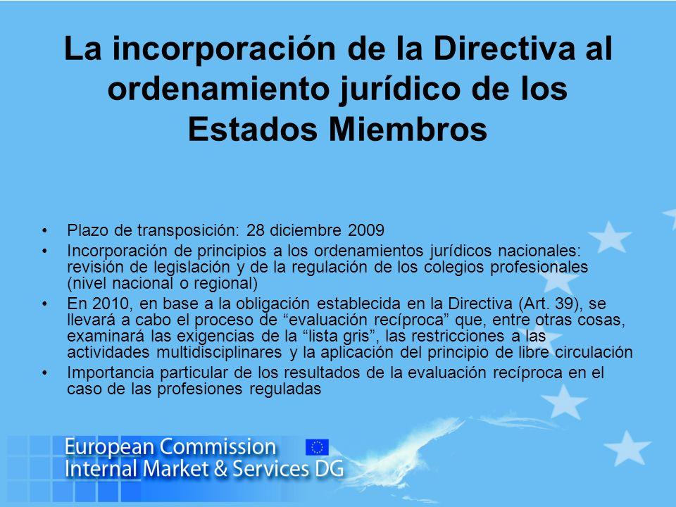 La incorporación de la Directiva al ordenamiento jurídico de los Estados Miembros Plazo de transposición: 28 diciembre 2009 Incorporación de principios a los ordenamientos jurídicos nacionales: revisión de legislación y de la regulación de los colegios profesionales (nivel nacional o regional) En 2010, en base a la obligación establecida en la Directiva (Art.