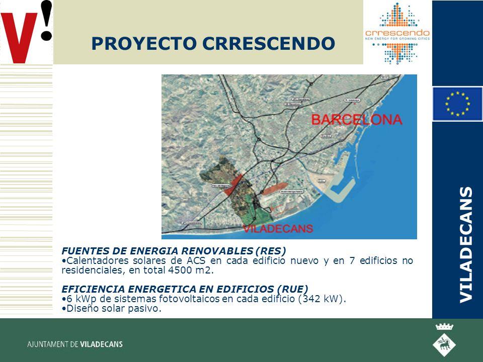 PROYECTO CRRESCENDO FUENTES DE ENERGIA RENOVABLES (RES) Calentadores solares de ACS en cada edificio nuevo y en 7 edificios no residenciales, en total 4500 m2.