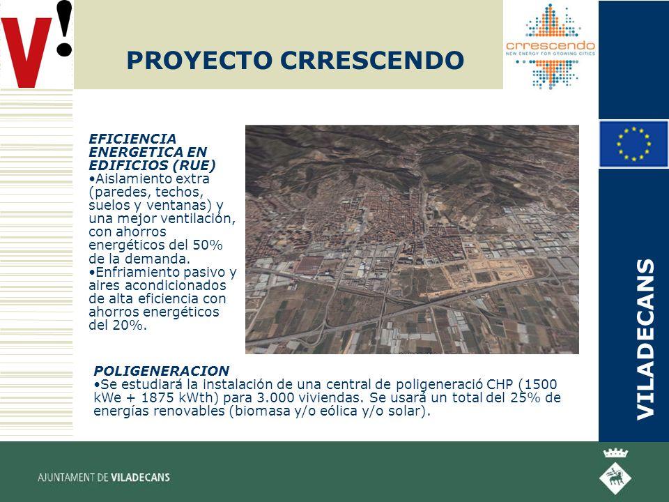 PROYECTO CRRESCENDO POLIGENERACION Se estudiará la instalación de una central de poligeneració CHP (1500 kWe + 1875 kWth) para 3.000 viviendas.