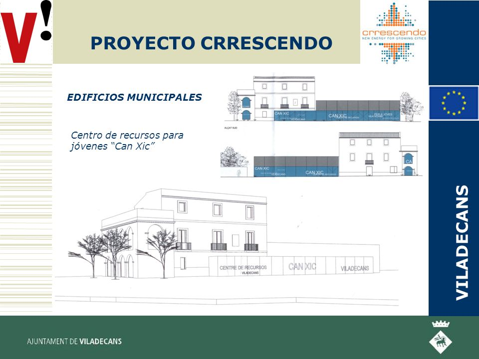 PROYECTO CRRESCENDO EDIFICIOS MUNICIPALES Centro de recursos para jóvenes Can Xic VILADECANS