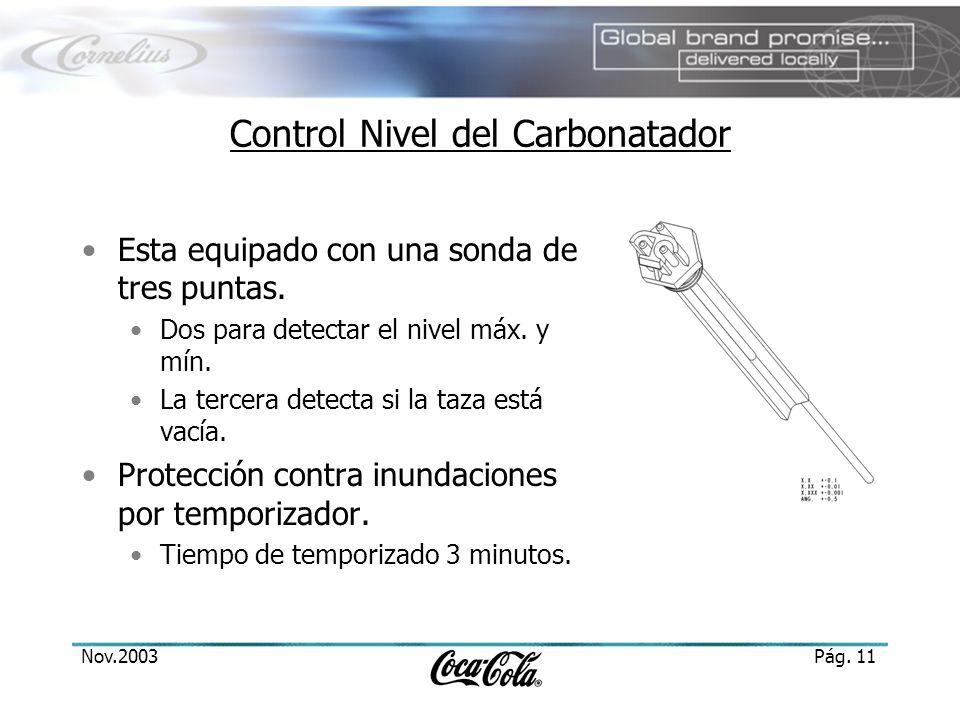 Nov.2003Pág. 11 Control Nivel del Carbonatador Esta equipado con una sonda de tres puntas. Dos para detectar el nivel máx. y mín. La tercera detecta s