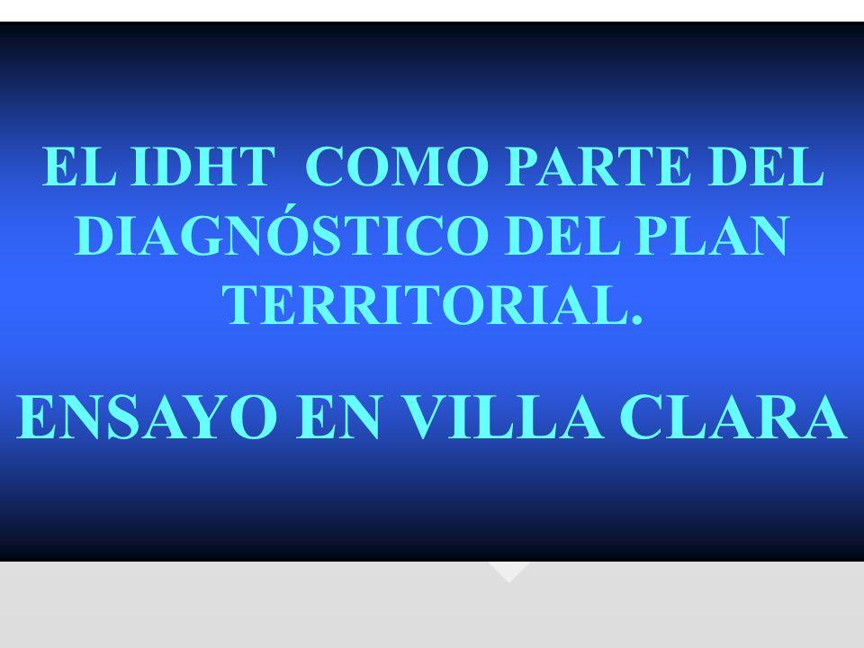 EL IDHT COMO PARTE DEL DIAGNÓSTICO DEL PLAN TERRITORIAL. ENSAYO EN VILLA CLARA
