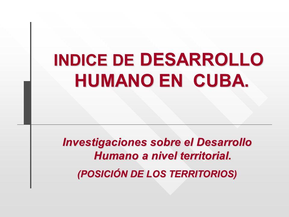 Investigaciones sobre el Desarrollo Humano a nivel territorial. (POSICIÓN DE LOS TERRITORIOS) INDICE DE DESARROLLO HUMANO EN CUBA. INDICE DE DESARROLL