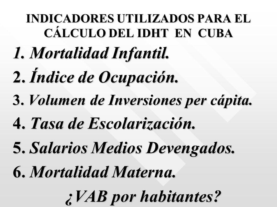 INDICADORES UTILIZADOS PARA EL CÁLCULO DEL IDHT EN CUBA 1. Mortalidad Infantil. 2. Índice de Ocupación. 3. Volumen de Inversiones per cápita. 4. Tasa