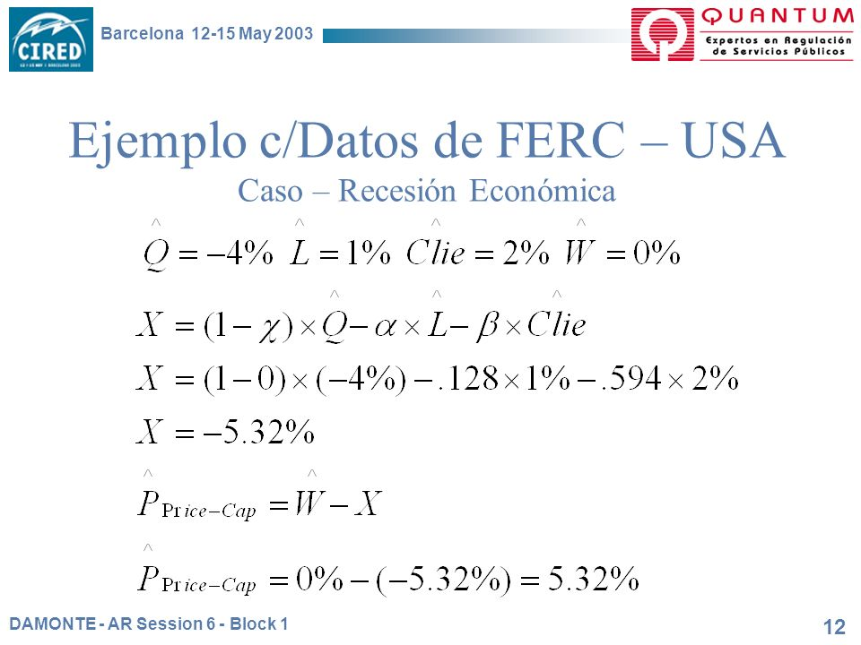 DAMONTE - AR Session 6 - Block 1 Barcelona 12-15 May 2003 12 Ejemplo c/Datos de FERC – USA Caso – Recesión Económica