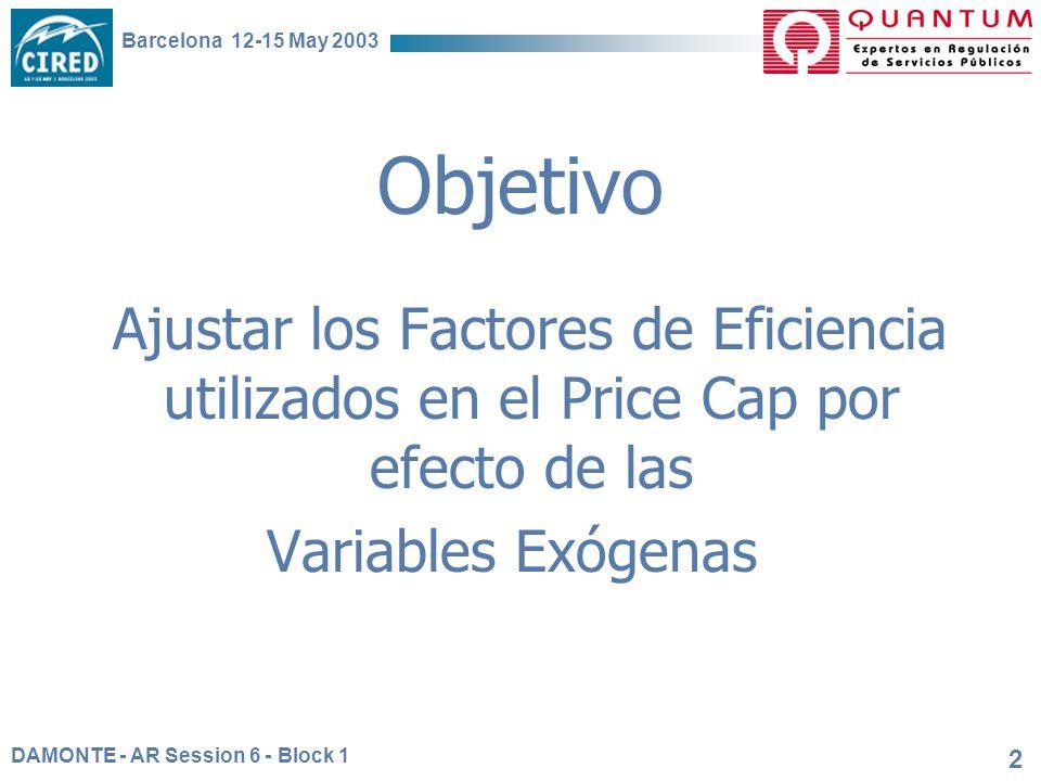 DAMONTE - AR Session 6 - Block 1 Barcelona 12-15 May 2003 2 Objetivo Ajustar los Factores de Eficiencia utilizados en el Price Cap por efecto de las Variables Exógenas