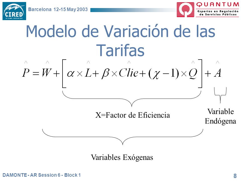 DAMONTE - AR Session 6 - Block 1 Barcelona 12-15 May 2003 8 Modelo de Variación de las Tarifas Variables Exógenas Variable Endógena X=Factor de Eficiencia