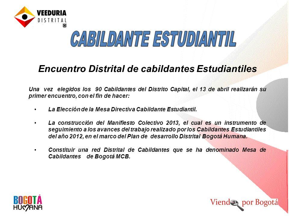 Encuentro Distrital de cabildantes Estudiantiles Una vez elegidos los 90 Cabildantes del Distrito Capital, el 13 de abril realizarán su primer encuent