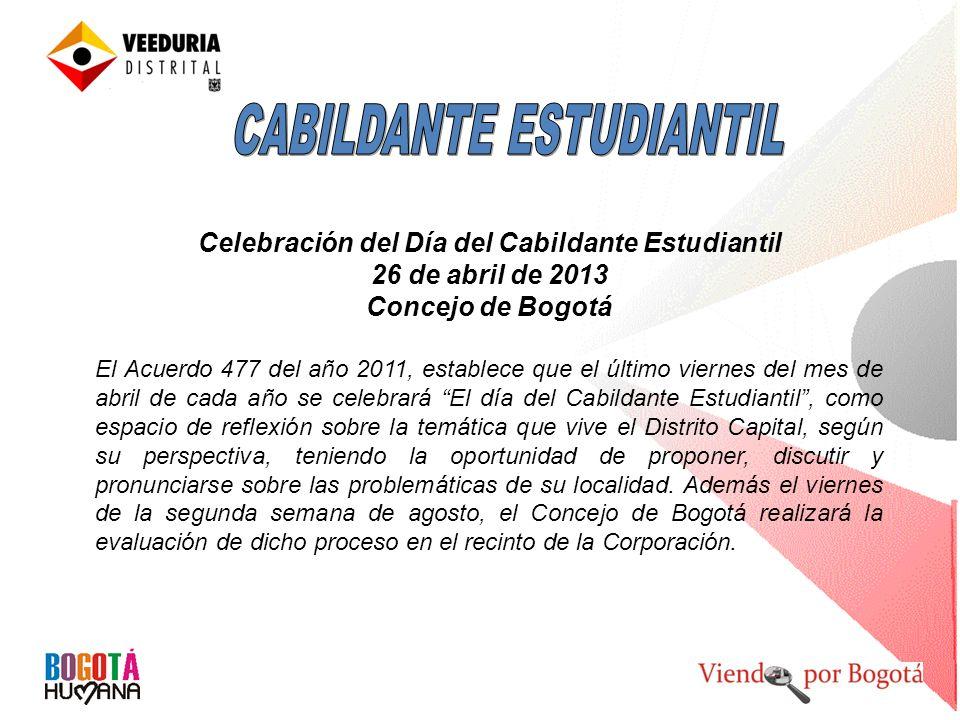 Celebración del Día del Cabildante Estudiantil 26 de abril de 2013 Concejo de Bogotá El Acuerdo 477 del año 2011, establece que el último viernes del