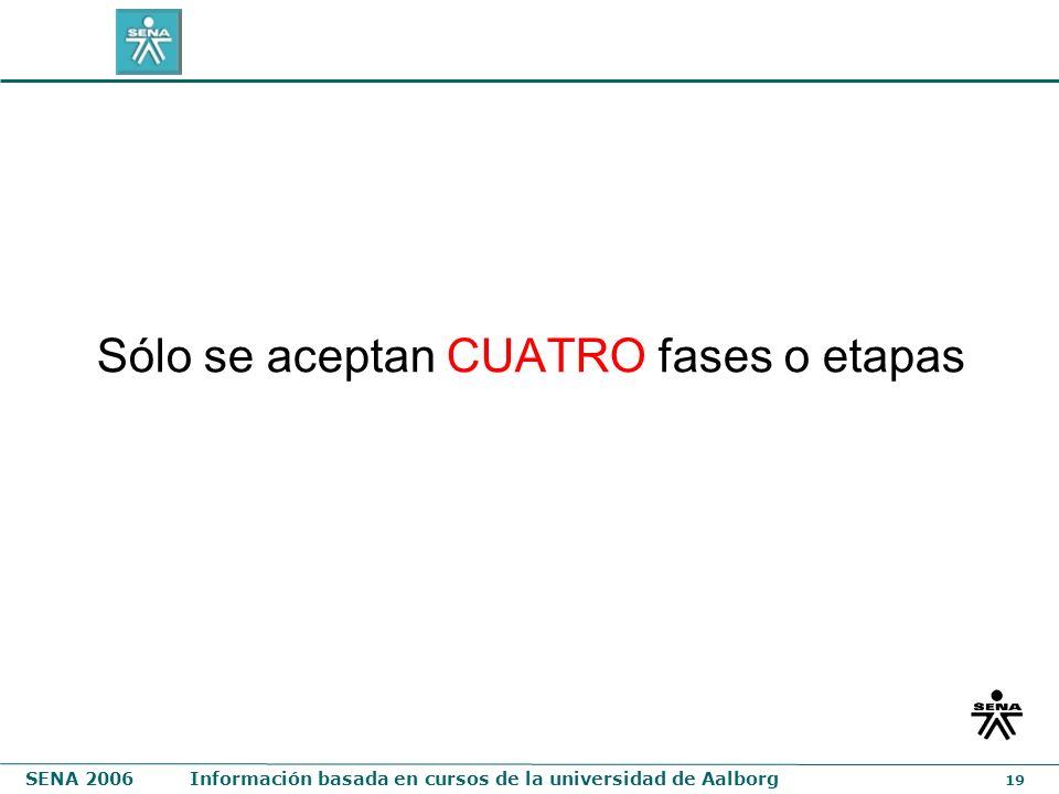 SENA 2006Información basada en cursos de la universidad de Aalborg 19 Sólo se aceptan CUATRO fases o etapas