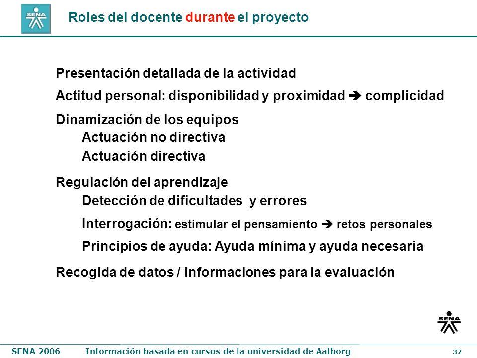 SENA 2006Información basada en cursos de la universidad de Aalborg 37 Roles del docente durante el proyecto Presentación detallada de la actividad Reg