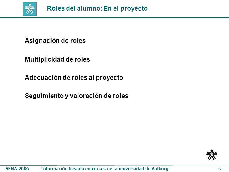 SENA 2006Información basada en cursos de la universidad de Aalborg 42 Roles del alumno: En el proyecto Asignación de roles Multiplicidad de roles Adec