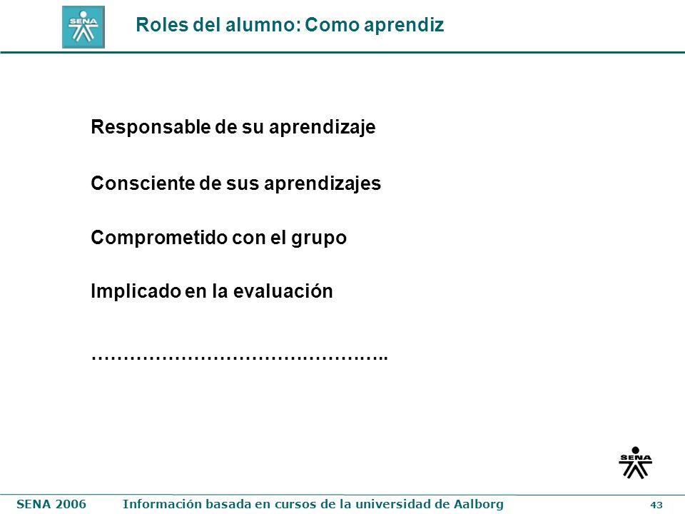 SENA 2006Información basada en cursos de la universidad de Aalborg 43 Roles del alumno: Como aprendiz Responsable de su aprendizaje Consciente de sus