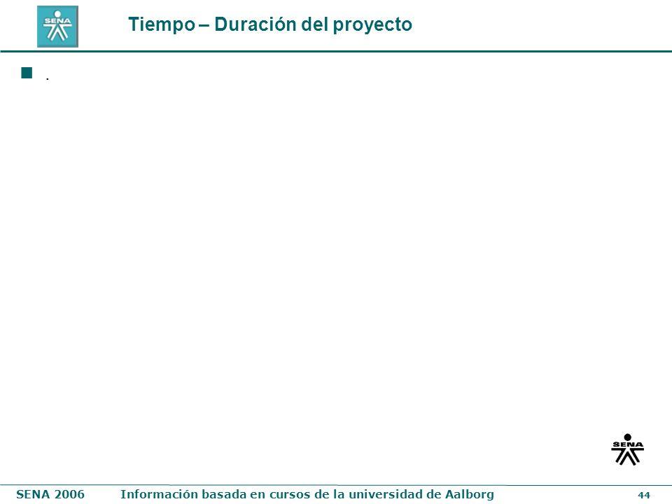 SENA 2006Información basada en cursos de la universidad de Aalborg 44 Tiempo – Duración del proyecto.