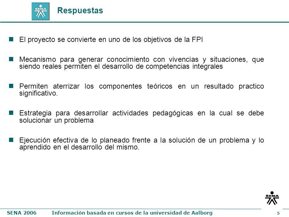 SENA 2006Información basada en cursos de la universidad de Aalborg 5 Respuestas El proyecto se convierte en uno de los objetivos de la FPI Mecanismo p