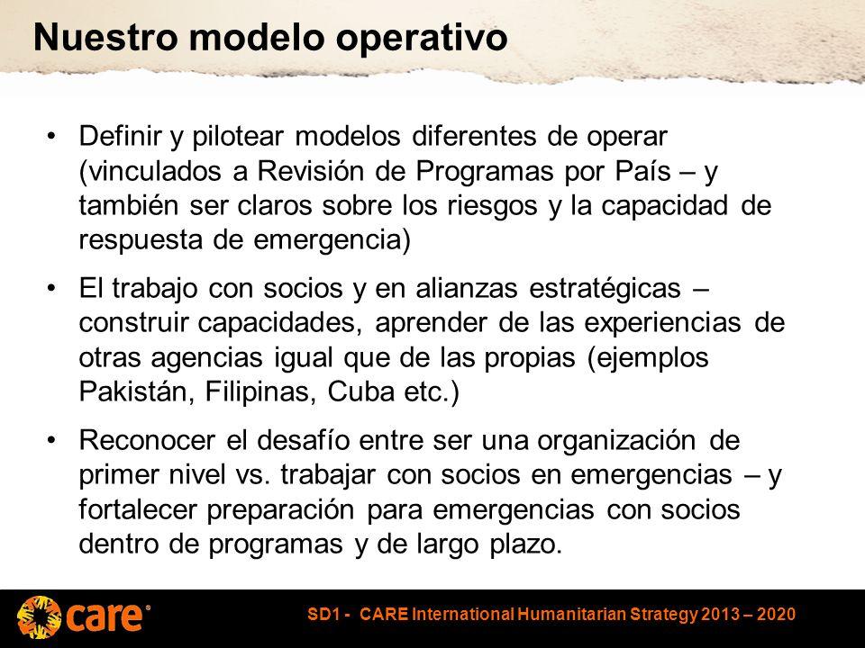 SD1 - CARE International Humanitarian Strategy 2013 – 2020 Nuestro modelo operativo Definir y pilotear modelos diferentes de operar (vinculados a Revisión de Programas por País – y también ser claros sobre los riesgos y la capacidad de respuesta de emergencia) El trabajo con socios y en alianzas estratégicas – construir capacidades, aprender de las experiencias de otras agencias igual que de las propias (ejemplos Pakistán, Filipinas, Cuba etc.) Reconocer el desafío entre ser una organización de primer nivel vs.
