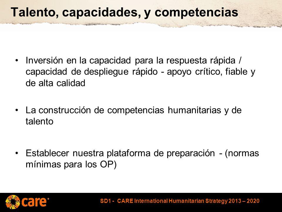 SD1 - CARE International Humanitarian Strategy 2013 – 2020 Talento, capacidades, y competencias Inversión en la capacidad para la respuesta rápida / capacidad de despliegue rápido - apoyo crítico, fiable y de alta calidad La construcción de competencias humanitarias y de talento Establecer nuestra plataforma de preparación - (normas mínimas para los OP)