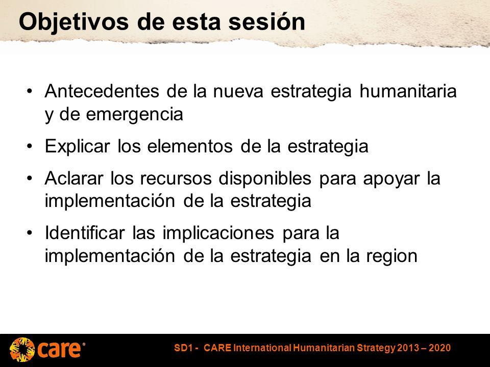 SD1 - CARE International Humanitarian Strategy 2013 – 2020 Qué apoyo está disponible.