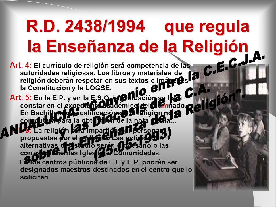 R.D. 2438/1994 que regula la Enseñanza de la Religión Art. 4: El currículo de religión será competencia de las autoridades religiosas. Los libros y ma