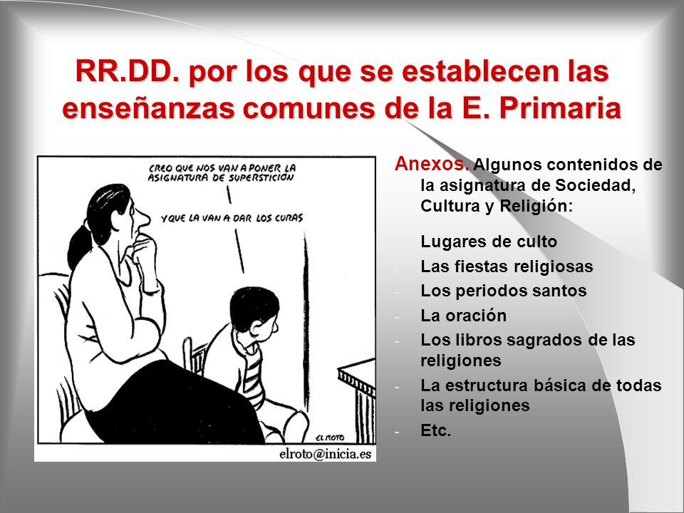 RR.DD. por los que se establecen las enseñanzas comunes de la E. Primaria Anexos. Algunos contenidos de la asignatura de Sociedad, Cultura y Religión: