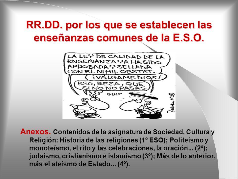 RR.DD. por los que se establecen las enseñanzas comunes de la E.S.O. Anexos. Contenidos de la asignatura de Sociedad, Cultura y Religión: Historia de
