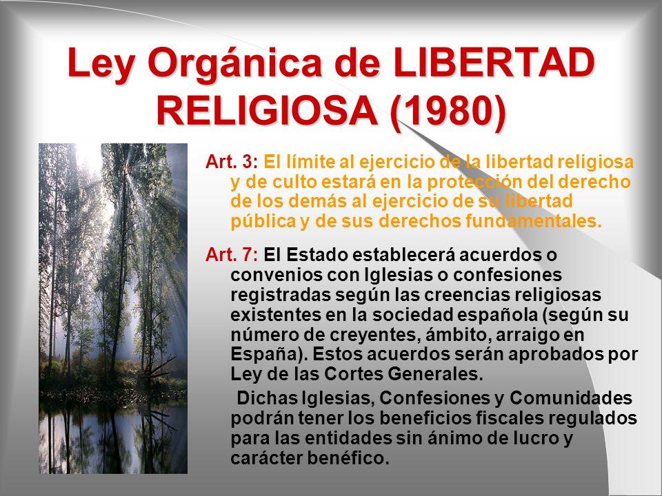 Ley Orgánica de LIBERTAD RELIGIOSA (1980) Art. 3: El límite al ejercicio de la libertad religiosa y de culto estará en la protección del derecho de lo