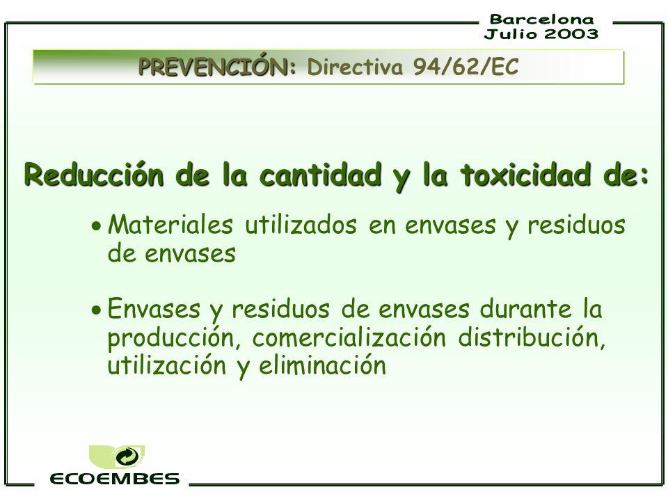 Reducción de la cantidad y la toxicidad de: Materiales utilizados en envases y residuos de envases Envases y residuos de envases durante la producción