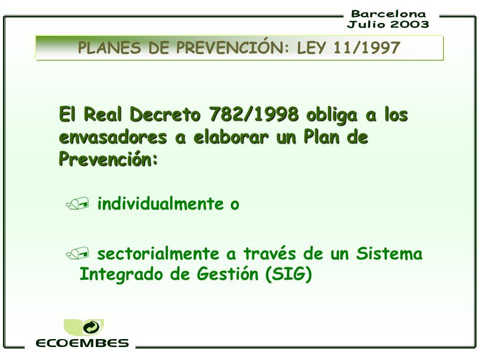 El Real Decreto 782/1998 obliga a los envasadores a elaborar un Plan de Prevención: / individualmente o / sectorialmente a través de un Sistema Integr