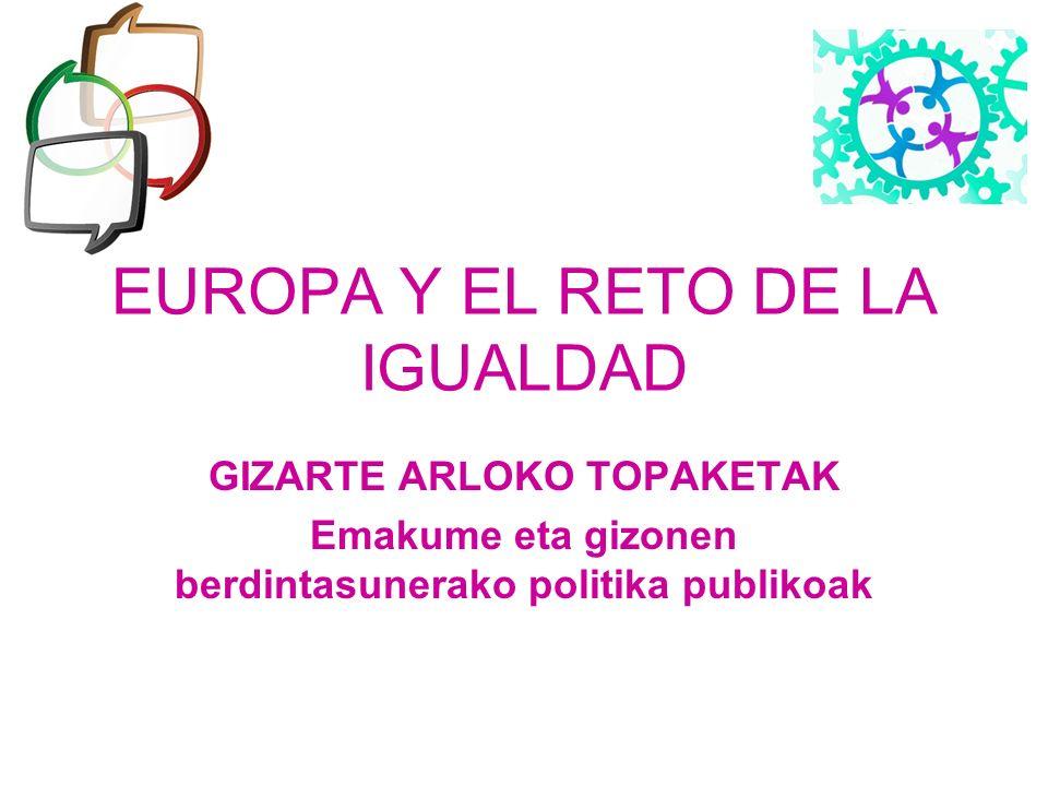 EUROPA Y EL RETO DE LA IGUALDAD GIZARTE ARLOKO TOPAKETAK Emakume eta gizonen berdintasunerako politika publikoak