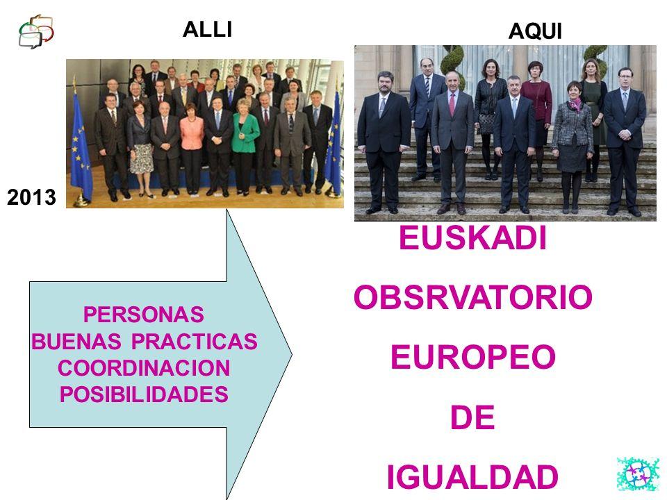 2013 ALLI AQUI PERSONAS BUENAS PRACTICAS COORDINACION POSIBILIDADES EUSKADI OBSRVATORIO EUROPEO DE IGUALDAD