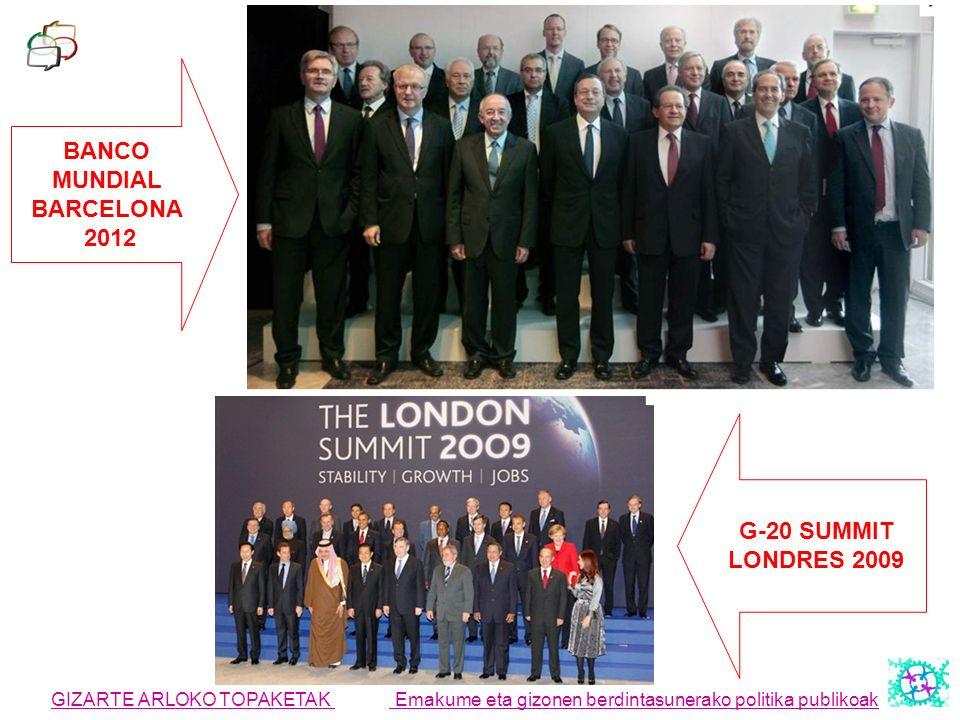 GIZARTE ARLOKO TOPAKETAK Emakume eta gizonen berdintasunerako politika publikoak BANCO MUNDIAL BARCELONA 2012 G-20 SUMMIT LONDRES 2009