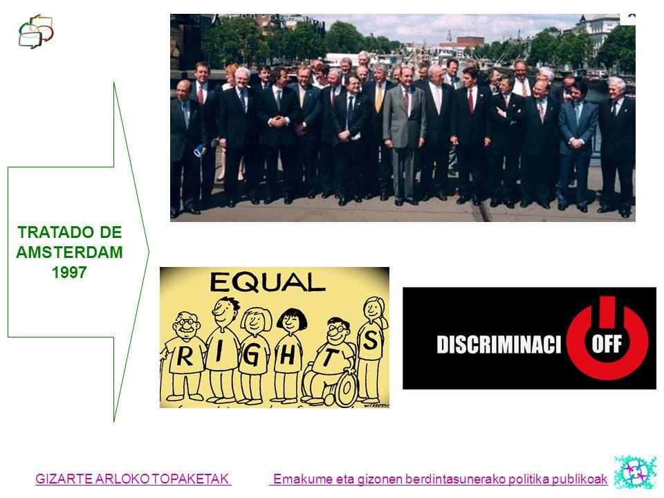 GIZARTE ARLOKO TOPAKETAK Emakume eta gizonen berdintasunerako politika publikoak TRATADO DE AMSTERDAM 1997