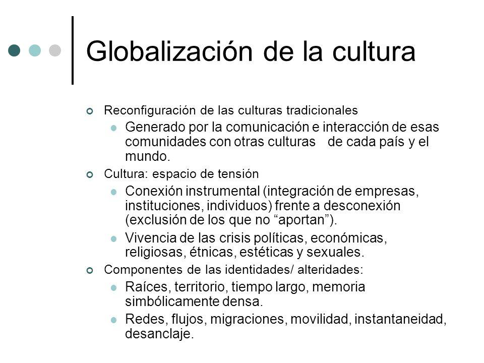 Globalización de la cultura Reconfiguración de las culturas tradicionales Generado por la comunicación e interacción de esas comunidades con otras cul